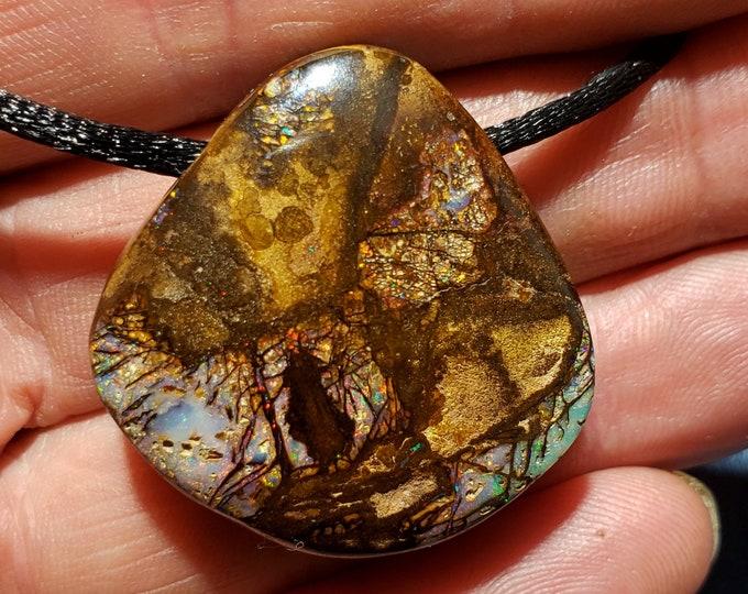 94 Ct. Boulder Opal Pendant, Necklace - Wood Replacement - Koroit, Australia - 34 x 33 mm