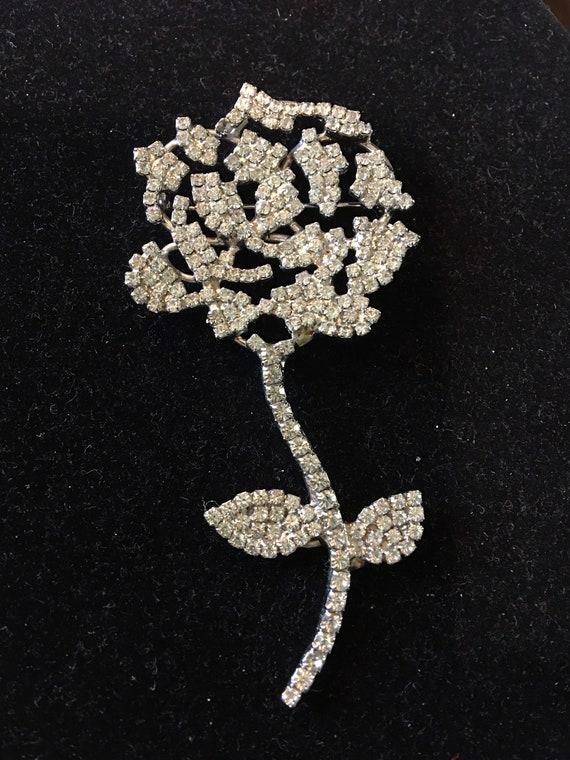gorgeous rare Pauline Trigere rhinestone rose broo