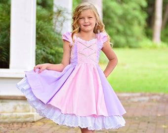 Princess Girls Rapunzel Dress with Exquisite Detailing