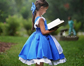 Belle Everyday Blue Provincial Dress with built in underskirt