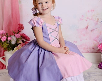 Gorgeous Rapunzel Tangled Costume Princess Dress with built-in underskirt