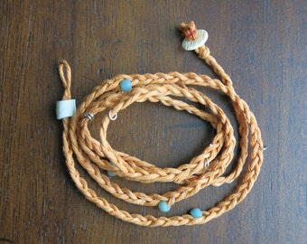 Orange Braided Fiber Wrap Bracelet