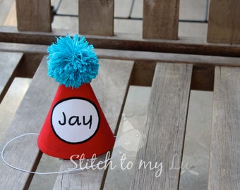 Birthday Hat Thing 1 2 Cat In The Inspired Dr Seuss Personalized 1st Outfit Toddler Baby Boy Or Girl