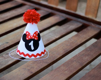 Minnie Mouse Birthday Hat Red White Black First Party 1st Outfit