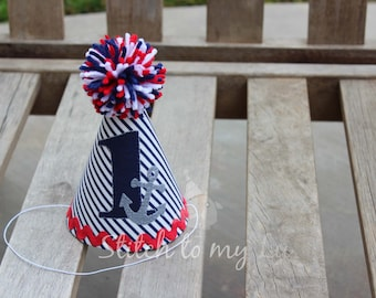 First Birthday Hat Nautical Anchor Navy Blue Red 1st Birthday Outfit Toddler Baby Boy or Girl