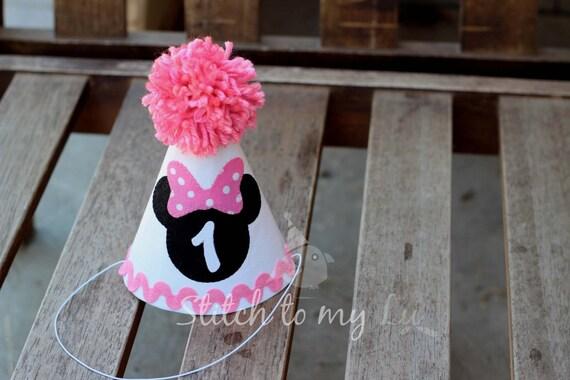 Minnie Mouse First Birthday Hat Pink White Black Bubblegum