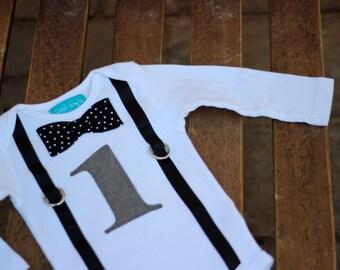 First Birthday Shirt Gray Black and White Polka Dots