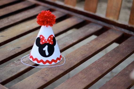 Minnie Mouse Birthday Hat Red White Black First Party