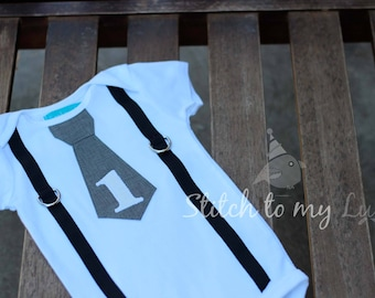 Baby Boy First Birthday Shirt Bodysuit Tie and Suspenders Gray Black and White Bodysuit Little Man