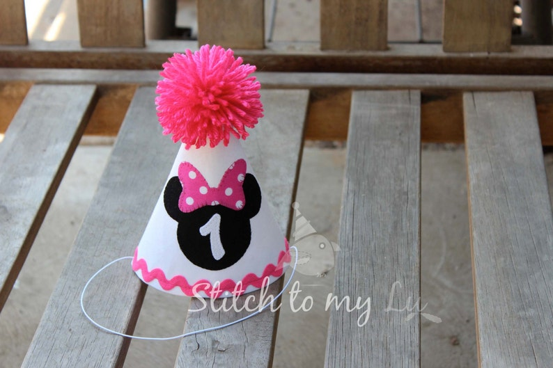 Birthday Hat Minnie Mouse HOT Pink White Black First Party 1st