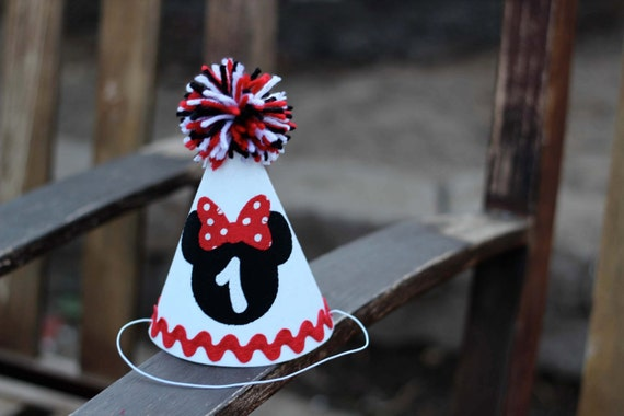 Minnie Mouse First Birthday Hat Red White Black
