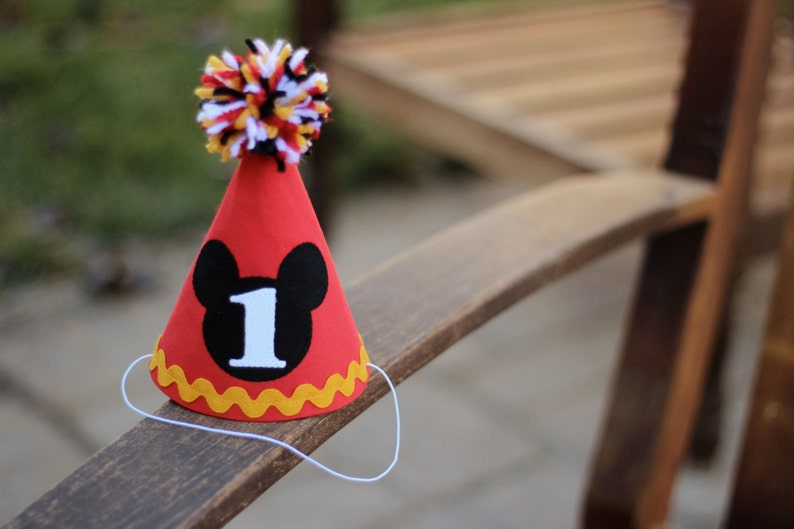 First Birthday HAT Mickey Mouse Red Yellow Gold Black White