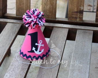 Girls First Birthday Hat Nautical Anchor Navy Blue Hot Pink White 1st Birthday Outfit Toddler Baby Girl