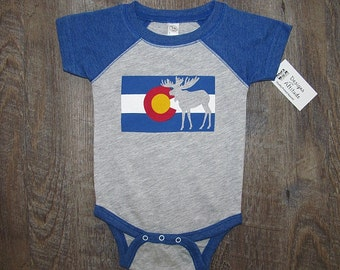 41ea17aa8 Super cute Colorado Flag Baby One piece Bodysuit | Moose Infant Romper  Pajamas | Mountains Colorado | Colorado Moose Baby