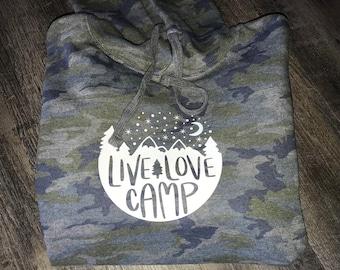 Adult Camo Camping Mountain Hoodie | Super Soft! Ringspun Fleece Sweatshirt | Colorado Mountain | Ladies Hoodie | Mens Hoodie | Crafted inCO