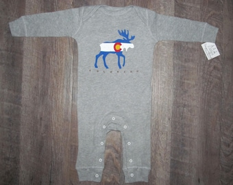 Colorado Flag Moose One peice bodysuit romper baby pajamas | Perfect Baby Shower Gift | CO Kids clothes | Colorado Moose Baby | ColoradoGift