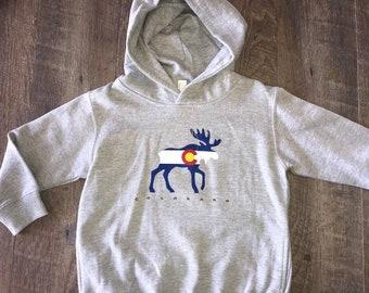 So cute! Kid's Colorado Hoodie | Colorado Flag Moose Sweatshirt | Soft Comfy Fleece | Toddler & Youth Hoodie | Mountains Sweatshirt Hoodie