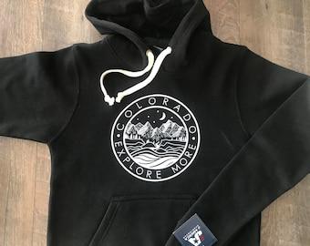 Colorado Hoodie Super Soft & Cozy! | Colorado Mountain Clothing | Colorado Gifts Handcrafted | Sweatshirt Colorado Explore More | Made in CO