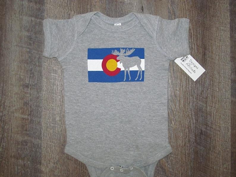 e6cbb97a3 Super cute Colorado Flag Baby One piece Bodysuit Moose