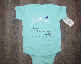 Adorable Mountain Infant Bodysuit! | Super Soft One Piece Baby Romper | Colorado Baby outfit | Baby Shower Gift CO | Love to the Mountains