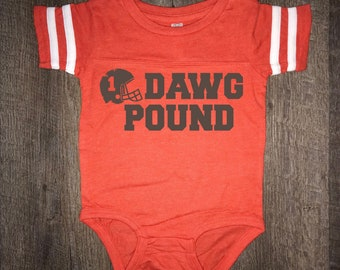 Adorable! Browns Baby Dawg Pound One piece bodysuit | Football Jersey Infant Bodysuit | Cleveland Browns Baby | Love hometown Cleveland