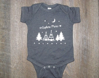 So Cute! Explore More Infant One piece | CO Camping Adventure Baby Bodysuit Romper | Colorado Baby Shower Gift | Mountain Baby | CO Gifts