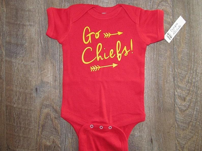 quality design cb222 f2042 Super cute! Chiefs Infant Bodysuit | KC Football Jersey Baby Onepiece |  Kansas City Chiefs Baby | Love Kansas City Baby Gifts | Chiefs Baby