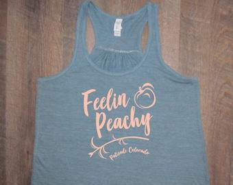 Super cute Feelin Peachy Ladies Vintage Blue bella flowy racerback tank Fruit shirt