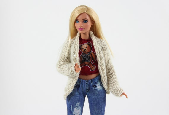 New Curvy printed turtle neck dress for Your Curvy Barbie Doll Au Made