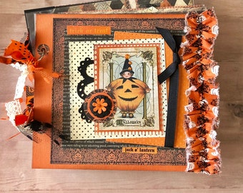 Halloween Scrapbook,  6x6 Photobook, Handcrafted Scrapbook, Halloween, Scrapbook Layouts, Witch Scrapbook
