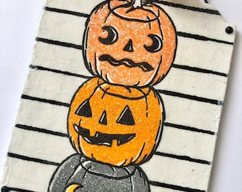 Pumpkin Ornament | Large Tag Ornament | Halloween Ornament | Tree Ornament