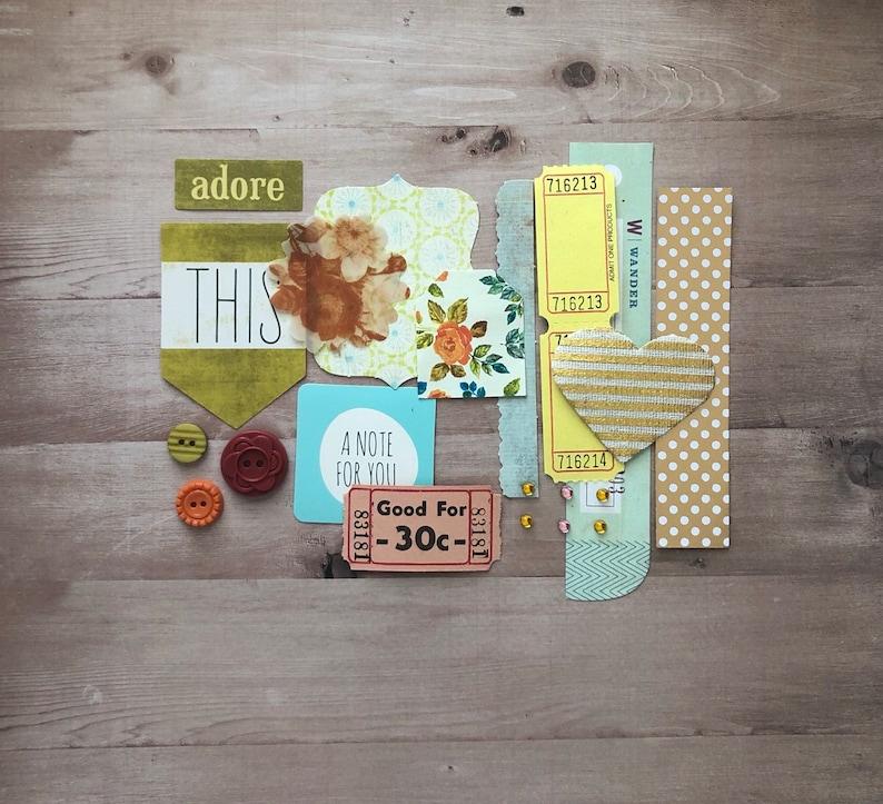 Junk Journal Kit, Floral Pattern Library Pocket