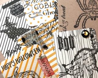 6 Halloween Project Life Embellished Pocket Cards, Journaling Cards, Junk Journal Cards, Stamped Cards, Halloween Cards