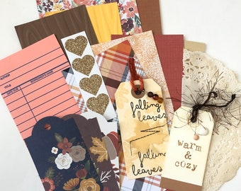 Fall Junk Journal Kit, Junk Journal Kit, Ephemera Kit, Autumn Theme Journal Supplies