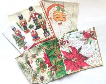 7 Assorted Decoupage Christmas Napkins, Christmas Napkins, Decoupage Napkin