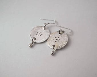 Dandelion Jewellery Textured Jewelry Natural Jewelry Sterling Silver Earrings Nature Inspired Jewellery Gifts for Her Contemporary Disc