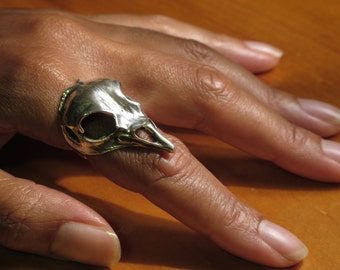 Bird Skull Ring | Sterling Silver Skull Bone Jewellery | Anatomy Jewelry | Skeleton | Nature Inspired | Statement | Made To Order Your Size
