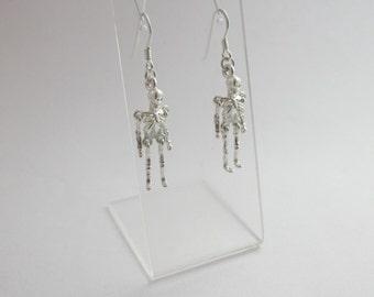 Skeleton Earrings, Sterling Silver Earrings, Skeleton Jewelry, Skeletons Jewellery, Halloween, Anatomy Jewelry, Articulated READY TO SHIP