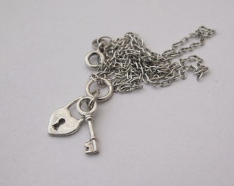 Small Heart Padlock Charm Necklace | Sterling Silver Jewellery | Simple Key Jewelry | READY TO SHIP | Minimalist | 925