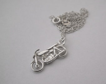 Small Motorbike Charm Necklace | Sterling Silver Jewellery | Simple Jewelry | READY TO SHIP | Minimalist | 925 | Motorcycle | Rider