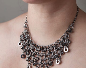 Chainmaille Necklace | Stainless Steel Jewelry | READY TO SHIP | Beaded Graduated Jewellery | Chain Maille | Statement Collar | Chainmail