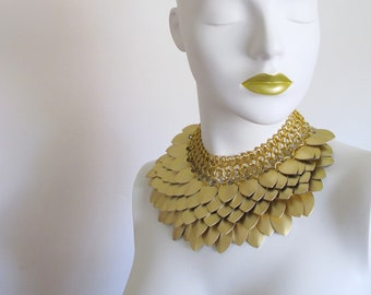 Statement Chandelier Necklace | Gold Scale Jewellery | READY TO SHIP | Scalemaille Collar | Chainmaille Jewelry | Chain Mail Necklace