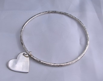 Sterling silver textured bangle with heart charm or disc