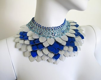 Statement Chandelier Necklace | Blue Silver Scale Jewellery | READY TO SHIP | Scalemaille Collar | Chainmaille Jewelry | Chain Mail Necklace