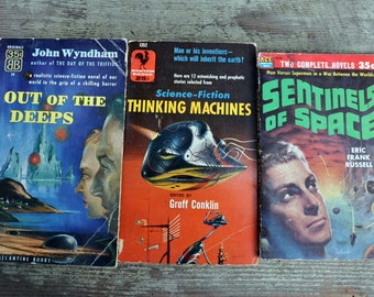 Sci-Fi lot, Out of the Deeps John Wyndham, Sentinels of Space & The Ultimate Invader, Thinking Machines