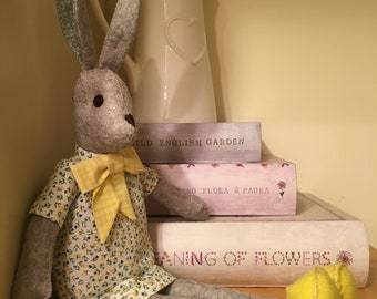 Handmade fabric Rabbit, Bunny, Hand sewn, Removable Dress and Shoes.