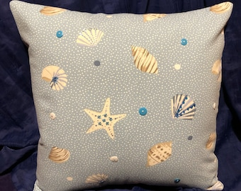 Pale Blue Seashell Cushion Cover With Hand Sewn Details!