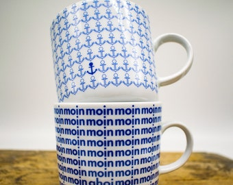 Coffee mug set of 2 - Design moin & anchor - Nautical porcelain cup original from the North