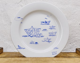 SCHIFFER PLATE PAPERBOAT - porcelain plate by Ahoi Marie - nautical - maritime style - blue and white - navy blue - Sailor, Octopus