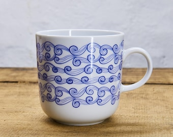 WAVE I porcelain coffee mug, tea cup by Ahoi Marie - nautical cup - maritime style - blue and white - navy blue